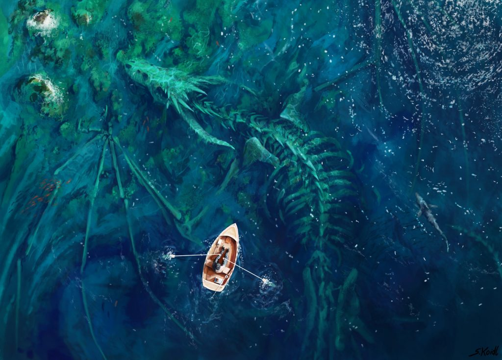 Picture prompt - a dragon skeleton and a tiny rowboat - designed by Stefan Koidl